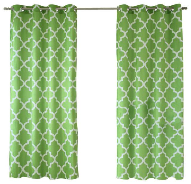 Velvet Moroccan Print Curtains, Pair, Green, 84.
