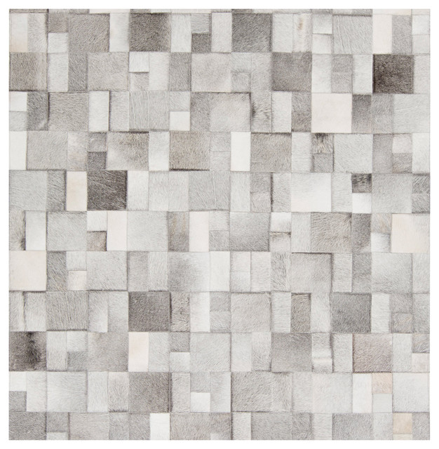 Bursa Global Bazaar Mondrian Tile Gray White Cowhide Rug
