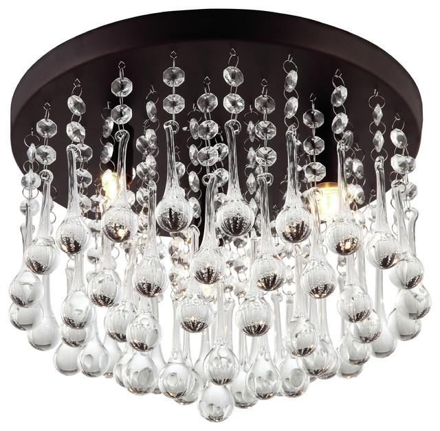 mezzaluna 3light crystal flush mount lighting