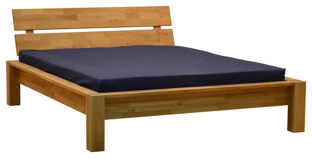 Woody Solid French Oak Platform Queen Bed.