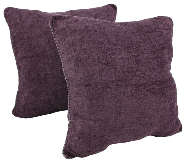 "25"" Rope Corded Solid Twill Square Floor Pillows, Set Of 2, Grape."