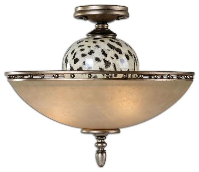 Uttermost malawi 3 light semi flush mount contemporary flush mount ceiling