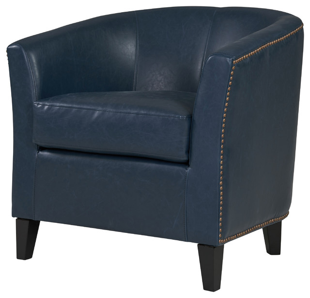 Orson Bonded Leather Tub Chair With Black Legs, Vintage Blue