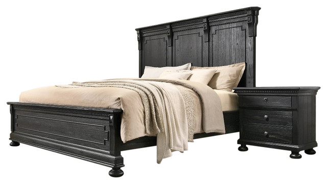 Xavier 5 Piece Bedroom Set Distressed Black Traditional