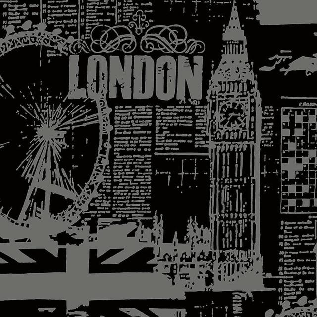 Black And Gray London Scene Norwall Wallpaper Sample
