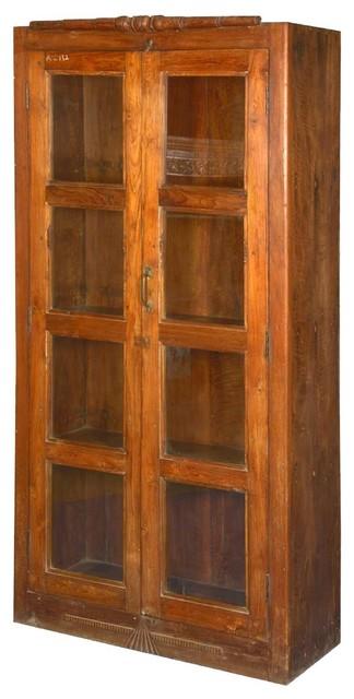 Beau Sante Fe Teak Wood Glass Door Display Armoire Bookcase