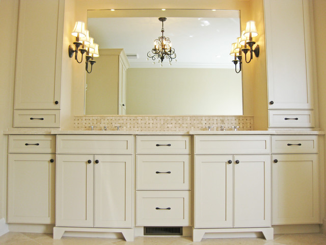 Custom Bathroom Double Vanities master bathroom double vanity with towers - traditional