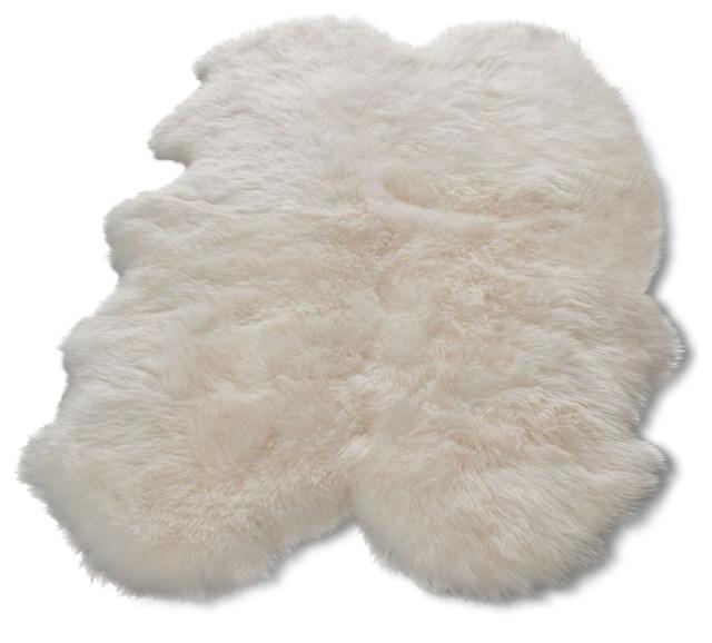 Exceptional Animal Inspirations Sheepskin Shag Area Rug, Rectangle, White, 2u0027x3u0027  Contemporary