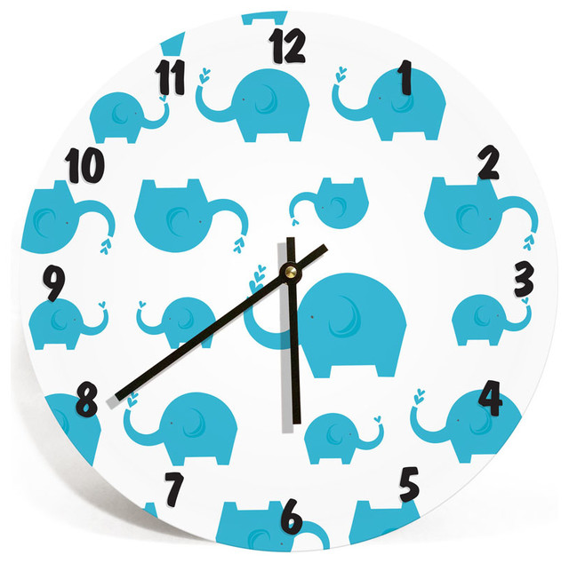 elephants wall clock for kids room boys and girls nursery room rh houzz com Dining Room Clocks Living Room Clocks
