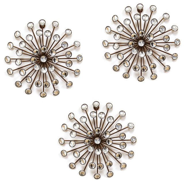Stratton Home Decor 3-Piece Gold Burst Wall Decor Set - Midcentury ...