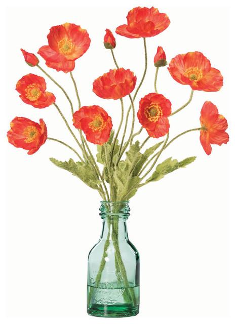 California poppies silk arrangement contemporary artificial california poppies silk arrangement flame mightylinksfo