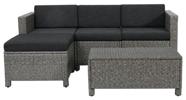 5 Piece Lorita Outdoor Gray Wicker Sectional Sofa With Black