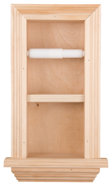 Solid Wood Recessed In Wall Bathroom Double Toilet Paper Holder With Ledge Unf
