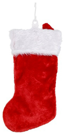 traditional red plush santa christmas stocking
