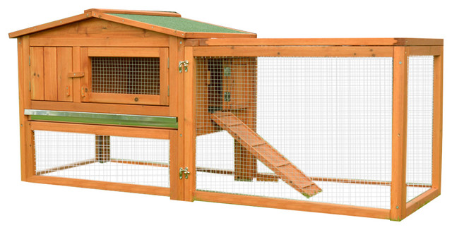 Pawhut 64 Outdoor Guinea Pig Pet House Rabbit Hutch Habitat With Run Transitional Small Supplies By Aosom