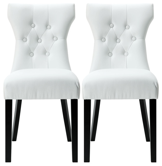 Modern Leather Tufted Back Elegant Dining Chair Nailhead