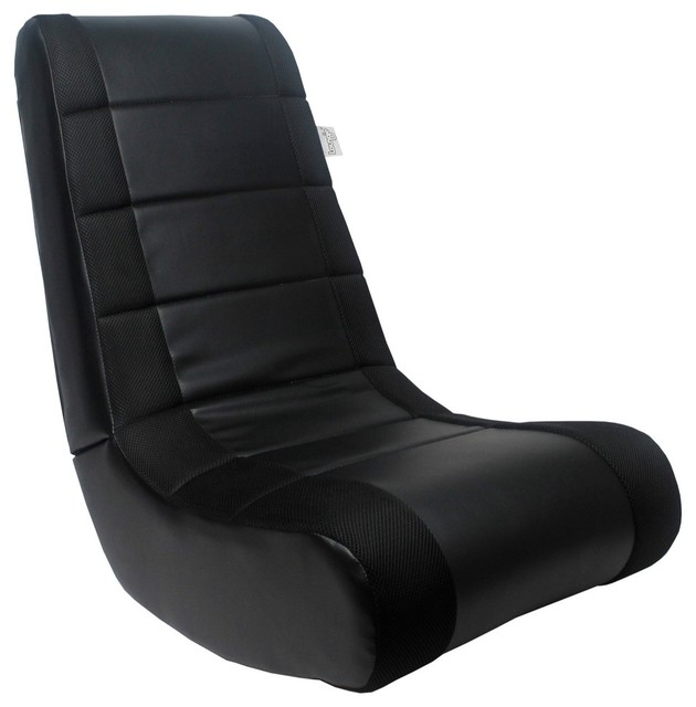 Rockme Video Gaming Rocker Chair For Kids And Adults, Black/Black
