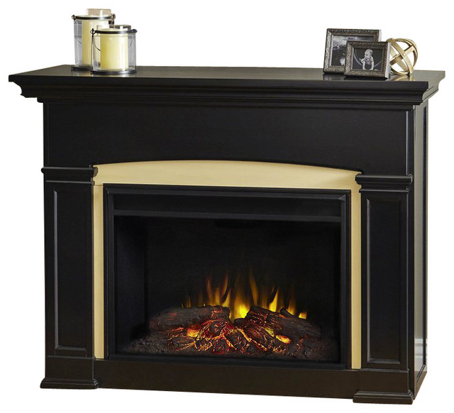 shop houzz real flame real flame holbrook electric grand fireplace in black indoor fireplaces. Black Bedroom Furniture Sets. Home Design Ideas