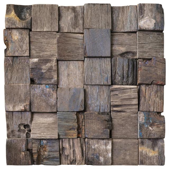 """Jakarta Reclaimed Boat Wood 3-D Wall Tile, Single Tile, 12""""x12""""."""