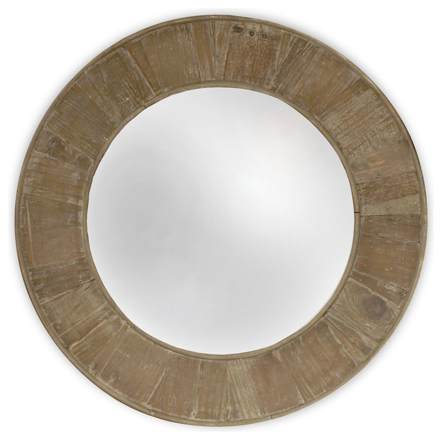 Boardwalk Rustic Lodge Old Lime Finish Reclaimed Pine Round Mirror.