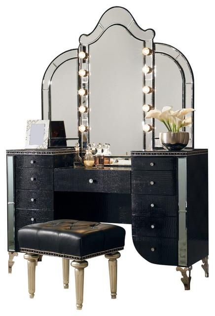 Aico Michael Amini Hollywood Swank Upholstered Vanity Set