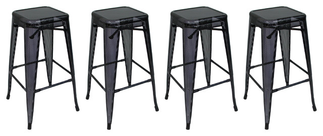 Stackable Bar Stools Set Of 4 Black 30