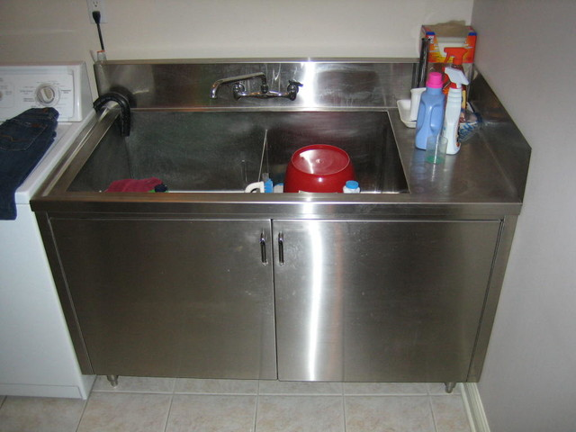 Stainless Steel Laundry Tubs And Cabinets Toronto By PVA - Stainless steel utility sink cabinet