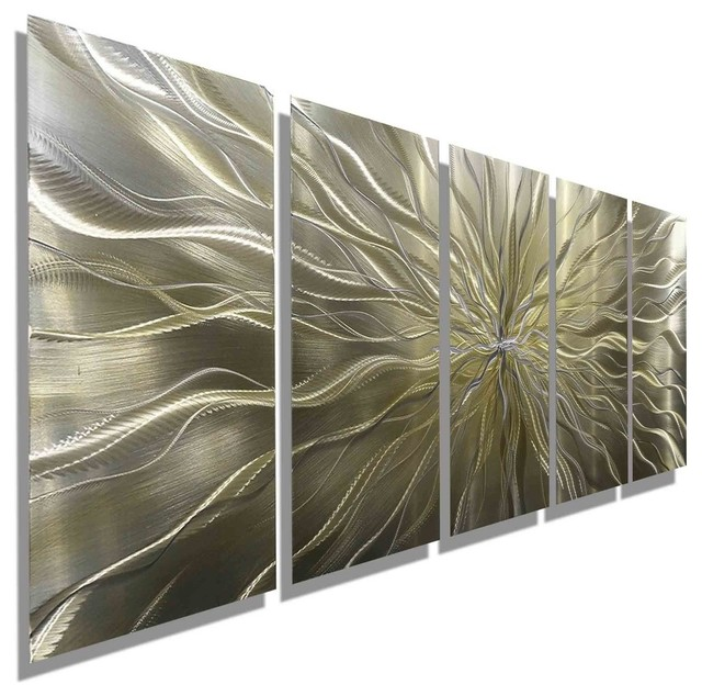 Modern Metal Wall Decor large abstract silver and gold hand-etched modern art metal wall