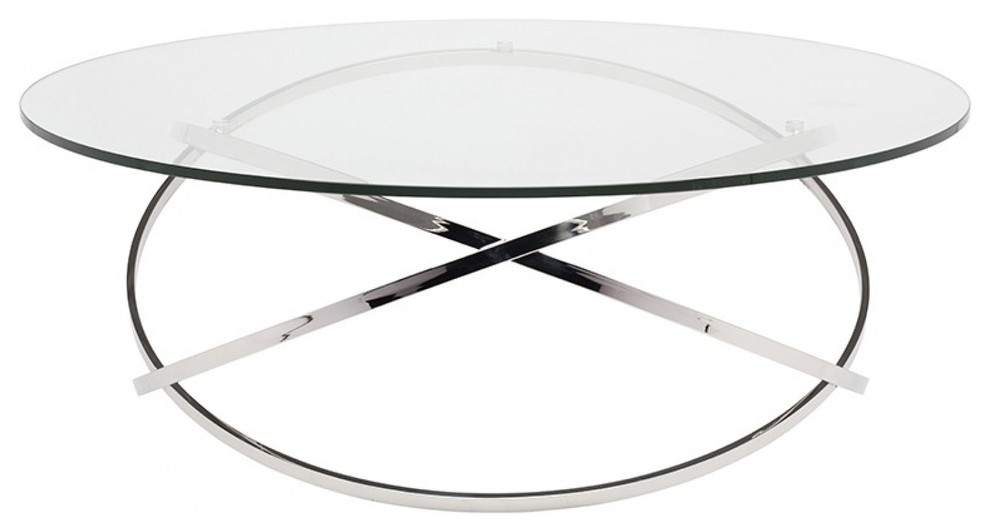 Modern Tempered Glass Coffee Table Clear Black Cage Table With Shelf Living Room