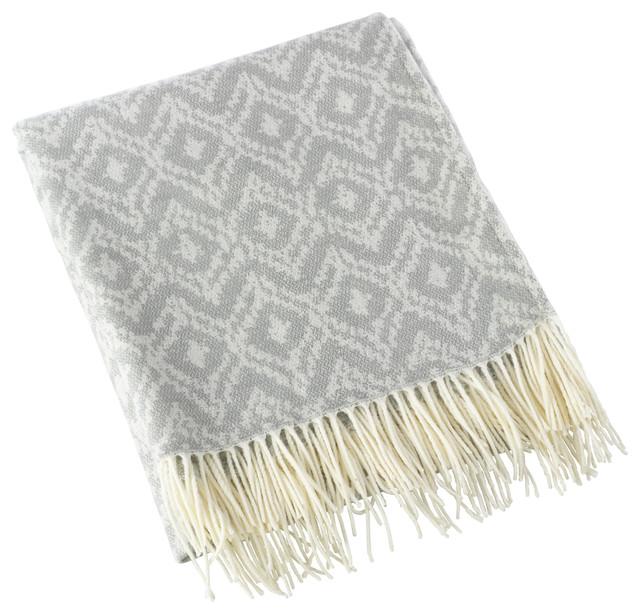 Jacquard Design Throw Blanket, Gray.