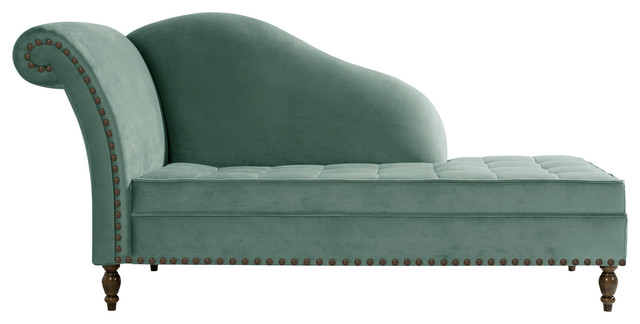 Medici Button-Tufted Chaise Lounge, Light Blue, Bronze Tacks