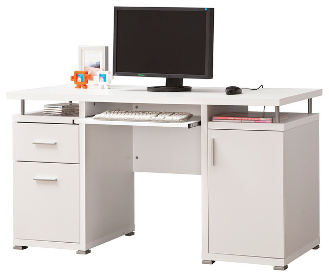 white floating top computer desk with drawers cabinet keyboard tray contemporary desks and. Black Bedroom Furniture Sets. Home Design Ideas
