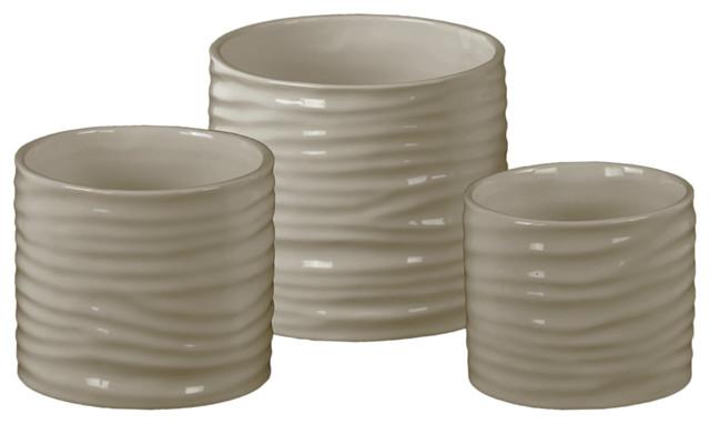Urban Trends Ceramic Pot 3-Piece Set, Taupe.