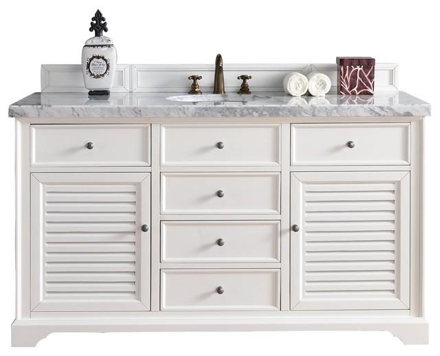 Savannah 60 single vanity cabinet cottage white beach - White cottage style bathroom vanities ...