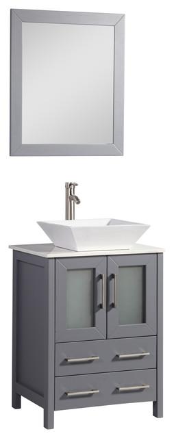 Allana Oak Vanity With Vessel Sink And Mirror, Dark Gray, 24.