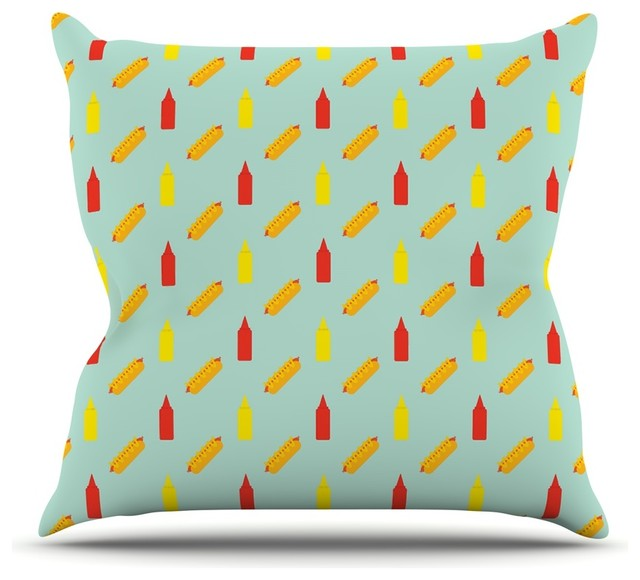 Will Wild Quot Hot Dog Pattern Ii Quot Food Throw Pillow