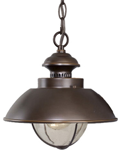 Harwich Outdoor Pendant, Burnished Bronze Industrial Outdoor Hanging Lights