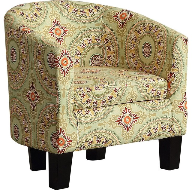 Admirable Brookhill Barrel Chair Contemporary Accent Chair Floral Medallion Machost Co Dining Chair Design Ideas Machostcouk