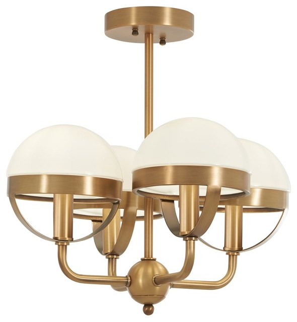 Tannehill 4-Light Semi Flush, Antique Noble Brass.