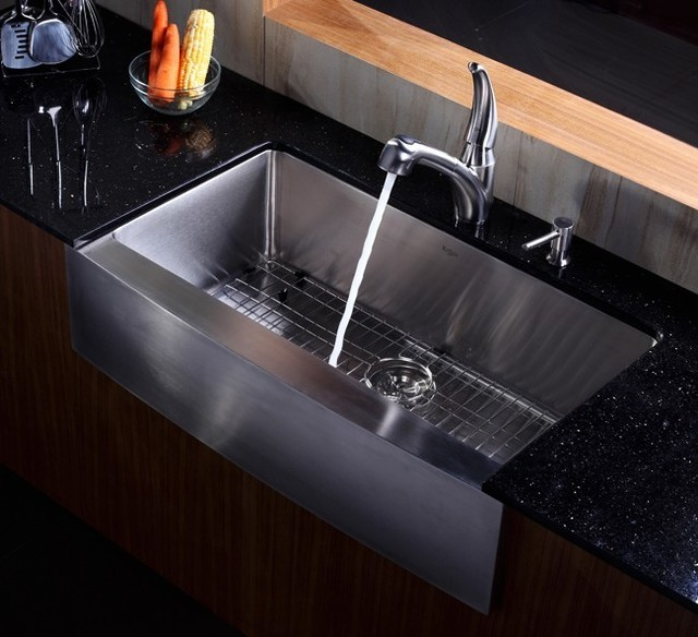 Best Stainless Farmhouse Sink : Kraus 36 Inch Farmhouse Apron Single Bowl Stainless Steel Kitchen Sink ...