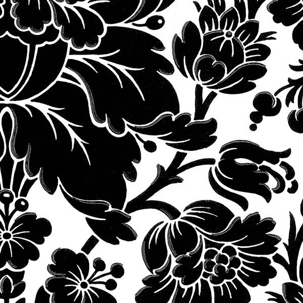 Large Print Floral Damask Wallpaper, Black & White, 6+ Bolts