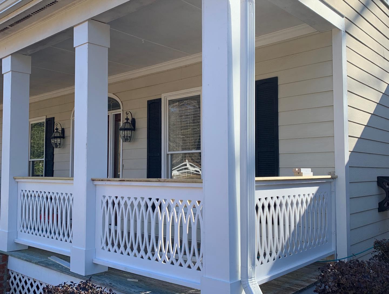 Porch with custom cut railings