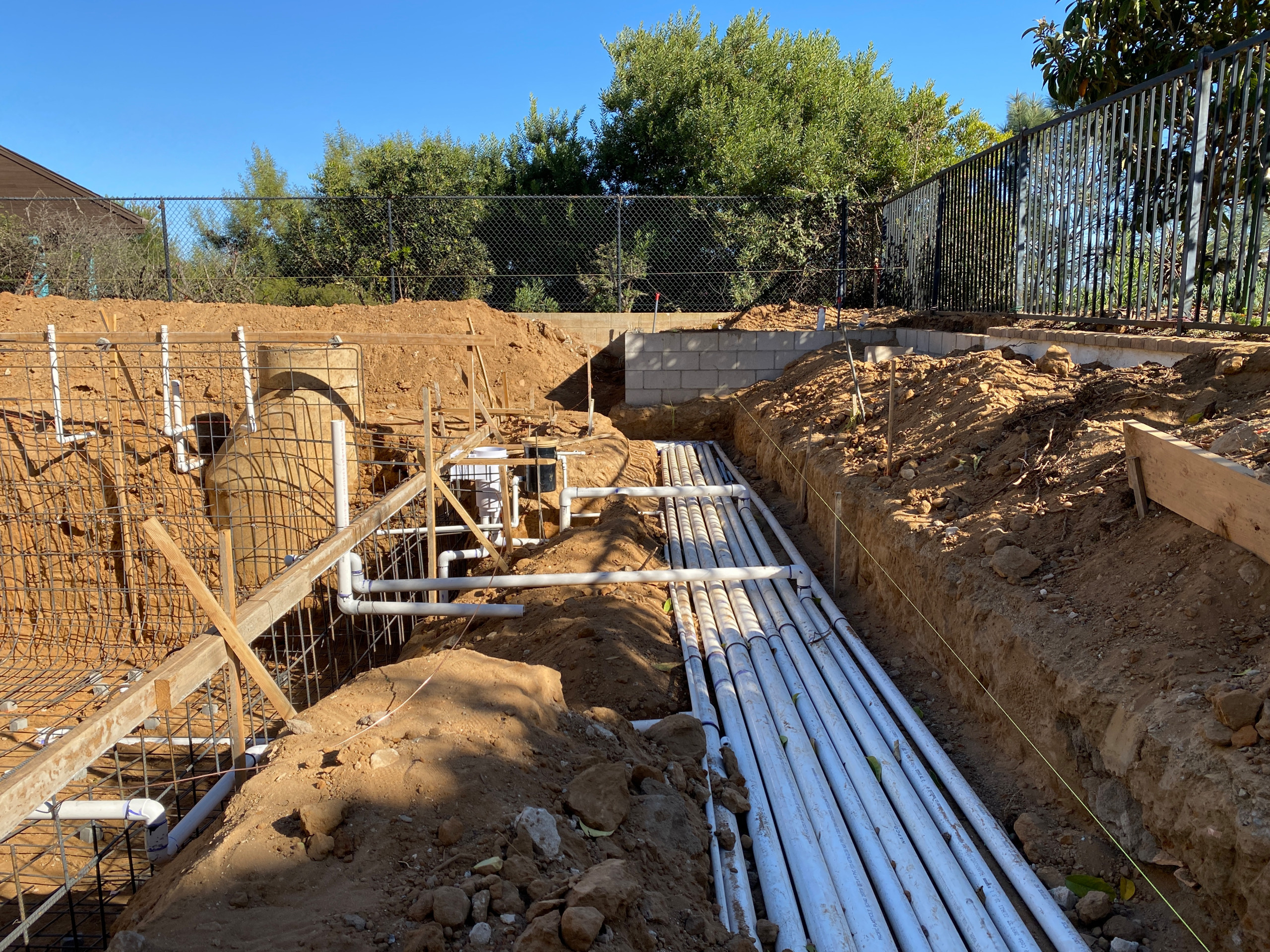Plumbing Pipes Installed for the Pool