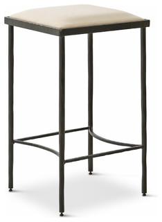 Ivan Industrial Loft Muslin Upholstered Iron Counter Stool