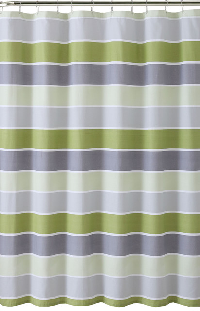 Green Gray Light Green White Striped 100 Cotton Fabric Shower Curtain Cinde