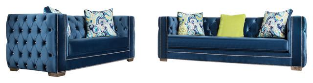 Hailey 2-Piece Sofa Set, Dark Blue Velvet.