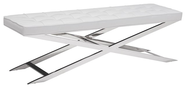 Zuo Modern Pontis Bench, White, 100337.