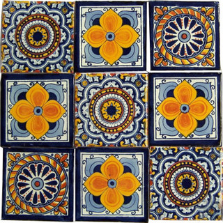 "Casa Daya - 4""x4"" Handpainted Mexican Talavera Tiles, 9-Piece Set - View in Your Room! 