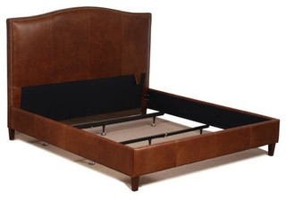 Tobacco Brown Genuine Leather Bed With Brass Nail Heads