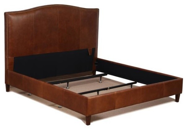 Genuine Leather Bed With Brass Nailhead Trim, Tobacco Brown, King